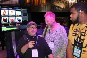 Drummer Joe with fellow singin' drummer pal Lynn Coulter at NAMM