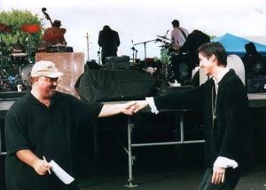 Joe & Lori backstage with Levon at Sacket's Harbor show