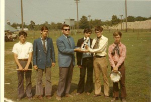 July 1969 The Baskerville Hounds win Rock Rally Watertown Fairgrounds New York with Stevie Gallucio (RIP), Rick LaGray, local DJ, Tom Collin (RIP), Mike Flaherty, 14 year old lead singer Joe Medwick with tambourine