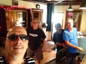 Joe at Ultratone Studios with Hutch Hutchinson, Tony Braunagel, Johnny Lee Schell at Johnny's killer studio in Studio City (Mike Finnigan and Joe Sublett not pictured).