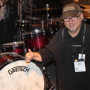 Joe with his dream Gretsch kit at NAMM.
