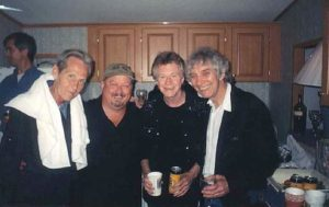 After the show in the super hospitality suite with Levon, Joe, Dave & Albert. Dan McKinney from the JWB (behind us)