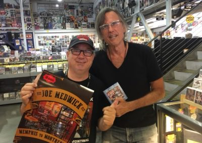 Joe at Ameoba Records Sunset Blvd Hollywood CA USA with old music biz pal and radio talent Rick Frystak